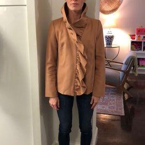 Milly Wool Cascade ruffle coat